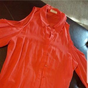 Equipment silk orange button shirt